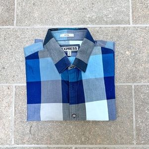 Express Fitted Checkered Button Down